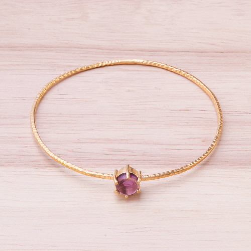 Amethyst and 18K Gold Plated Hammered Brass Bangle Bracelet 'Twilight Star'