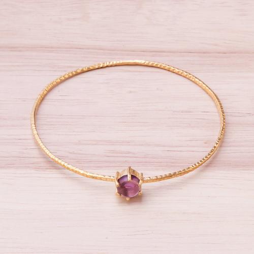 Amethyst and 18K Gold Plated Hammered Brass Bangle Bracelet 'Twilight Star'