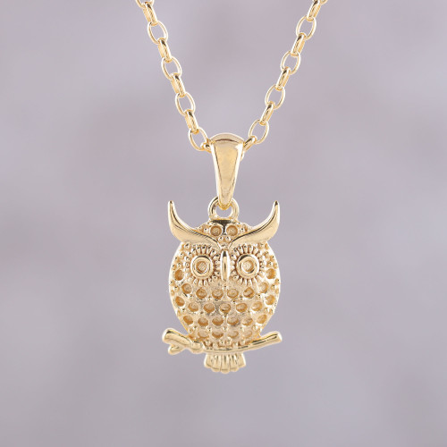 Gold Plated Sterling Silver Owl Pendant Necklace from India 'Hooting Owl'