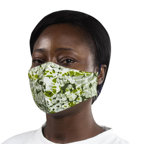 2-Layer African Cotton Print Face Mask in Green  Yellow 'Ghanaian Forest'