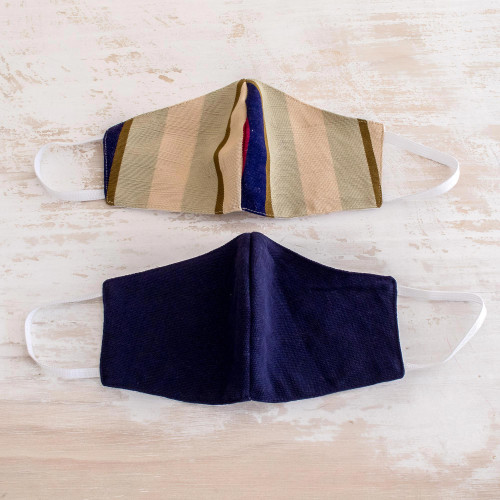2 Handwoven 3-Layer Masks in Stripe  Solid Blue Cotton 'Patience and Hope'