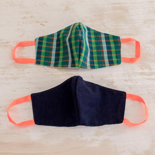2 Handwoven Cotton Masks in Green Check  Solid Blue 'Cheerful Squares'