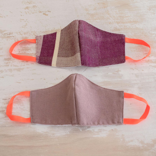 2 Handwoven Masks in Berry Stripes  Solid Mauve Cotton 'Resilience'