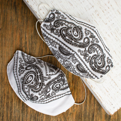 2 Double Layer White  Black Bandana Print Face Masks 'White Bandana'