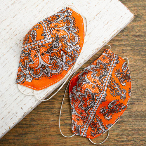 2 Double Layer Orange  White Bandana Print Face Masks 'Orange Bandana'