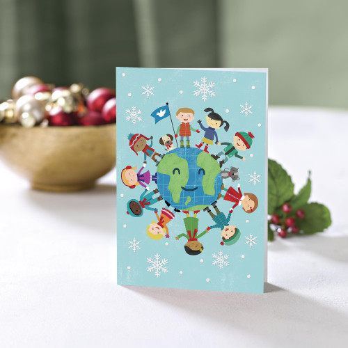 UNICEF Holiday Cards with Kids and Pets set of 12 'Smiles Have No Borders'