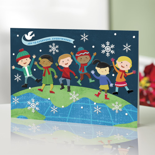 UNICEF Holiday Cards with Joyful Kids set of 16 'On Top of the World'
