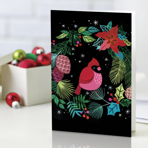 UNICEF Cardinal and Wreath Holiday Cards set of 12 'The Cardinal's Welcome'