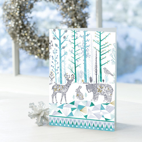 Nature-Themed UNICEF Holiday Cards set of 16 'Gathered Together'