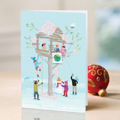 UNICEF Winter-Themed Holiday Cards set of 12 'The Snowman's House'
