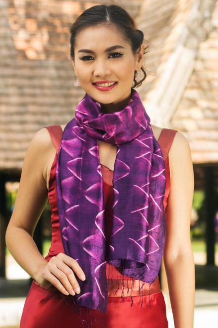 Silk Tie Dye Scarf from Thailand 'Amethyst Mystique'