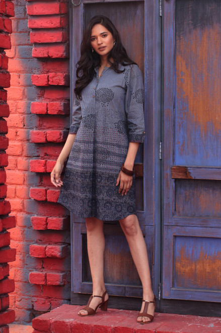 Block-Printed Cotton Shirtdress from India 'Dusky Elegance'