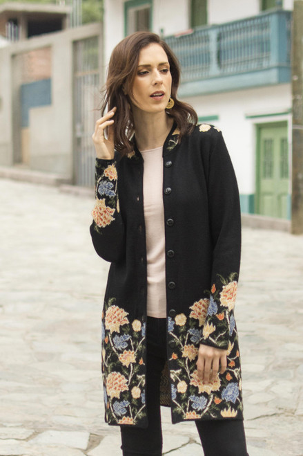 Floral Pattern Knit 100 Baby Alpaca Long Cardigan from Peru 'Midnight Floral'