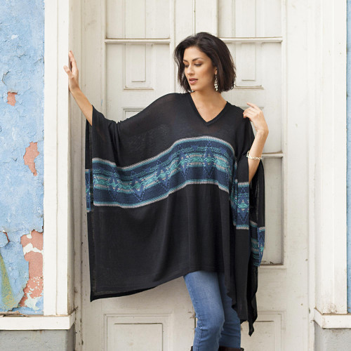 Artisan Crafted Cotton Blend Poncho in Black and Blue 'Seasonal Escape'