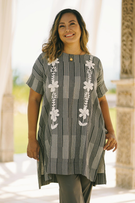 Black and Alabaster Floral Cotton Long Length Tunic 'Floral Lattice'