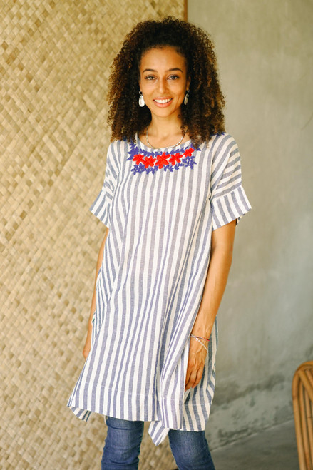 Floral Embroidered Striped Cotton Long Length Tunic 'Sky Flora'