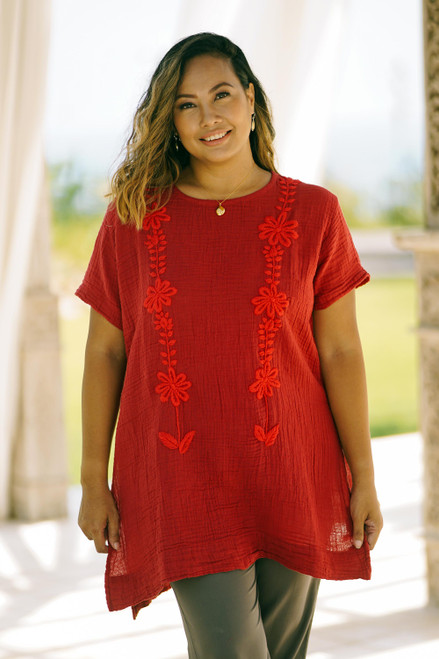Floral Cotton Blouse in Crimson from Thailand 'Crimson Bloom'