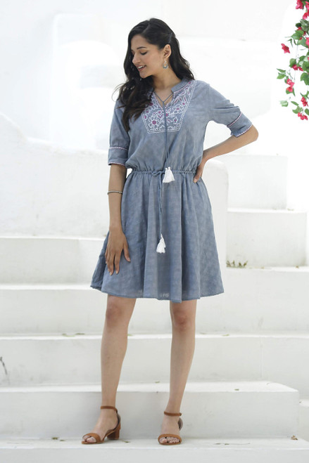 Cotton A-Line Summer Dress in Wedgwood Blue 'Delhi Spring in Wedgwood'
