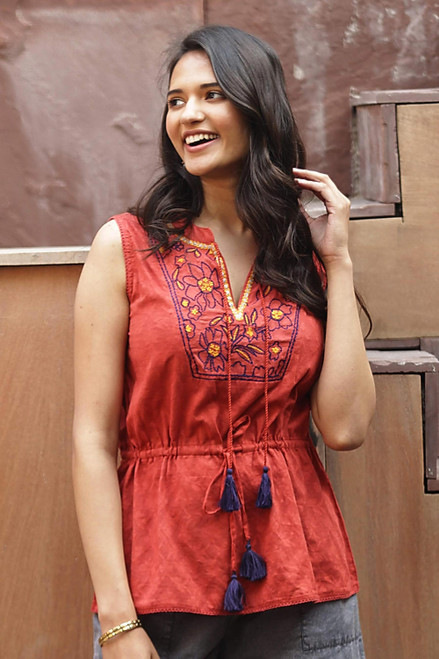 Floral Embroidered Cotton Blouse in Paprika from India 'Delhi Spring in Russet'