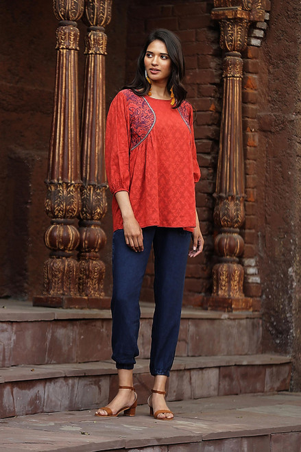 Embroidered Cotton Top in Paprika from India 'Delhi Spring in Russet'