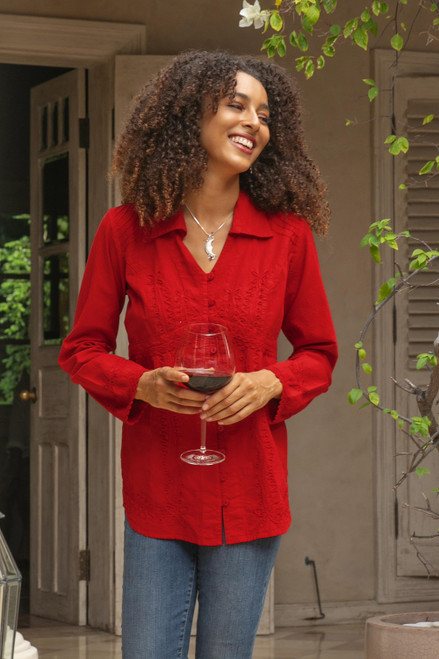 Lily of the Incas Button-Front Red Cotton Blouse 'Lily of the Incas in Red'