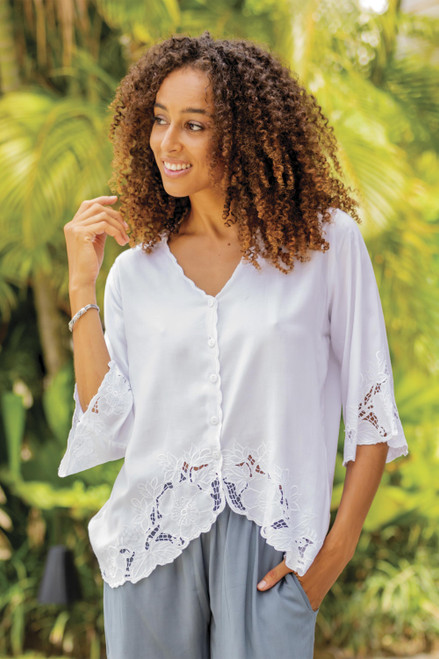 Floral Embroidered White Rayon Blouse from Bali 'Blossom Delight'