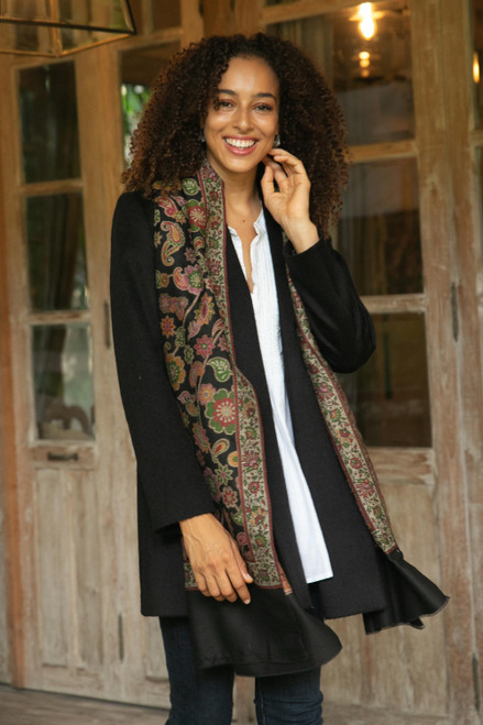 Floral Wool Shawl in Black from India 'Midnight Garden'