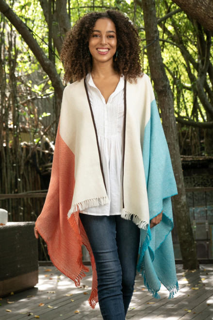 Tri-Color Suede Trimmed 100 Baby Alpaca Ruana from Peru 'Majestic Combination'