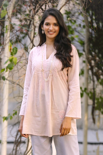 Hand Embroidered Pink Cotton Tunic from India 'Spring Dance'