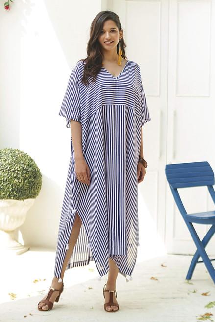 Relaxed Striped Cotton Caftan Dress 'Delhi Stripe'