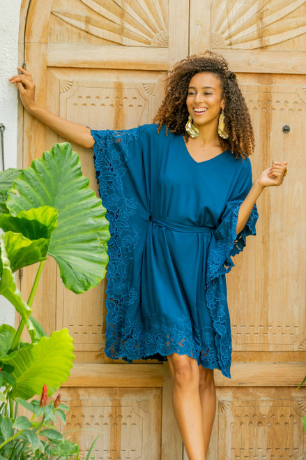 Embroidered Rayon Caftan in Azure from Bali 'Goddess in Azure'