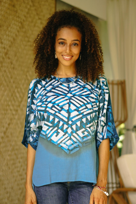 Blue Cotton Batik Blouse Hand Crafted in Thailand 'Blue Illusion'