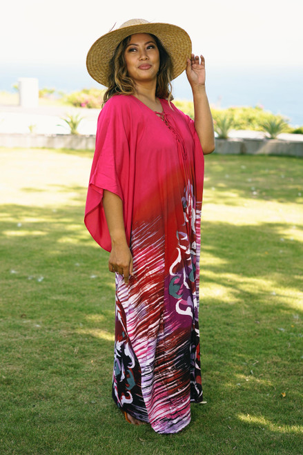 All Cotton Batik Caftan Dress in Fuchsia and Red 'Fanfare in Fuchsia'