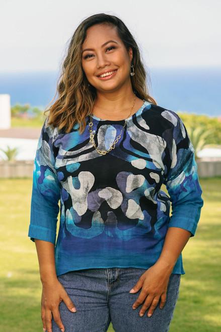 100 Cotton Women's Batik Blouse in Blue 'Lanna Melange in Blue'