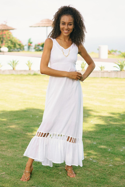 Hand Crafted White Cotton Sundress 'Soiree in White'