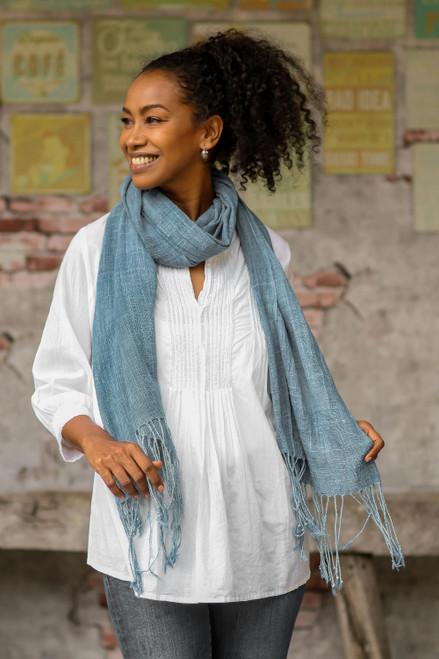 Light Indigo Hand Spun and Woven Cotton Shawl 'Morning Indigo'