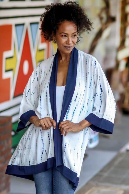 White and Indigo Blue Rayon Kimono from Bali 'Tropical Rain'