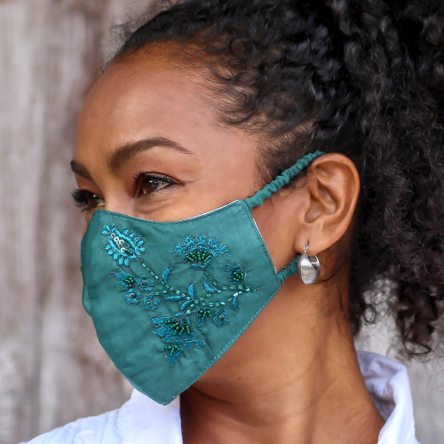 3 Green  Turquoise Cotton Masks with Embroidered Flowers 'Cool Blossoms'