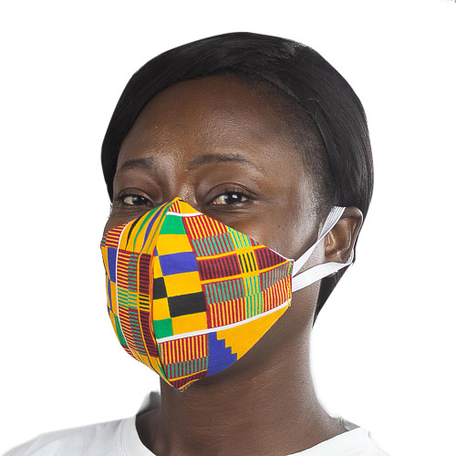 Ghanaian African Kente Print Cotton 2-Layer Ear Loops Mask 'Kente Melange'