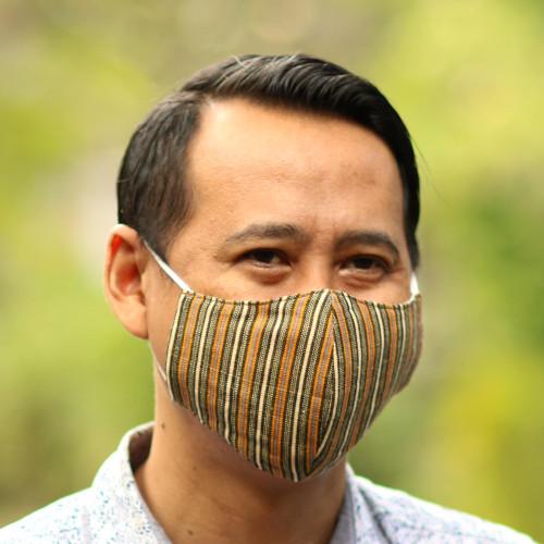 3 Handwoven Cotton Lurik Contoured 2-Layer Face Masks 'Javanese Earth Moods'