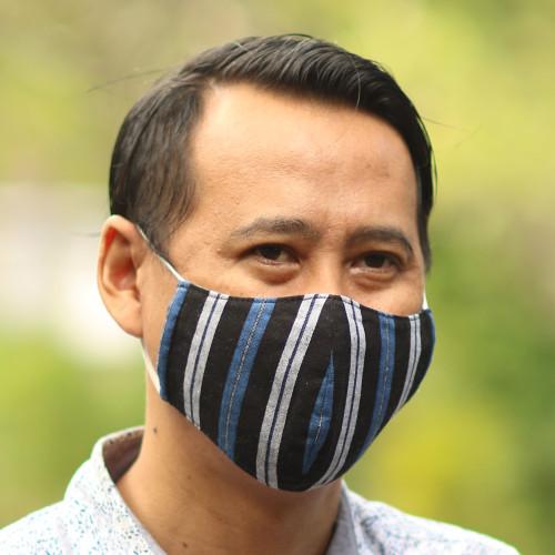 3 Handwoven Cotton Lurik Contoured 2-Layer Blue Face Masks 'Javanese Blues'
