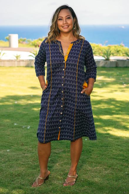 Navy Blue Print Cotton Shirtdress from India 'Pyramid Fantasy'