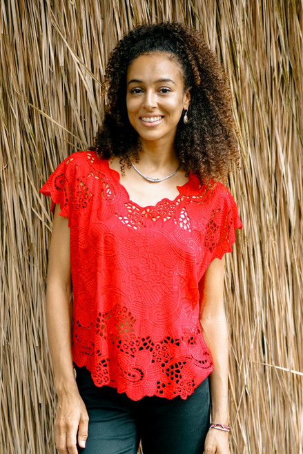 Red Floral Openwork and Embroidered Rayon Top 'Rose Mallow in Red'