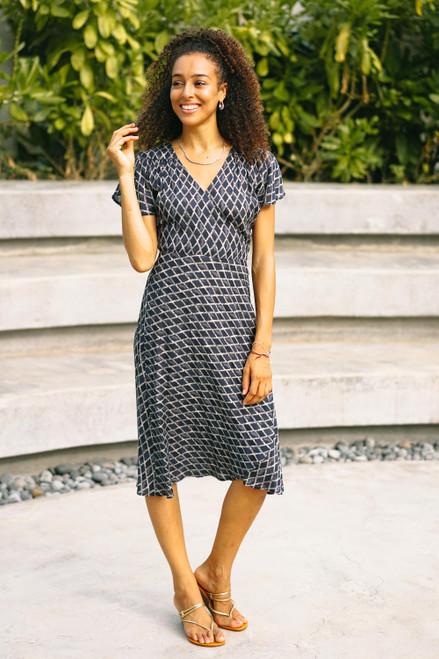 Beaded Indigo Viscose Wrap Dress 'Creative Fusion in Indigo'
