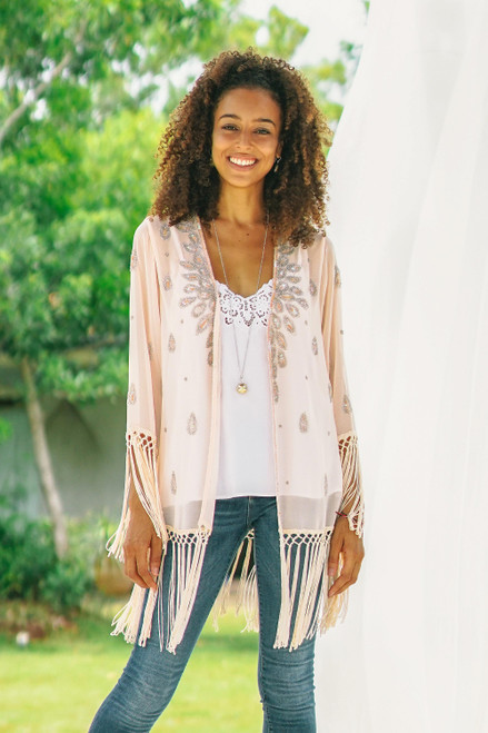 Beaded and Sequined Crepe Jacket from India 'Out on the Town'