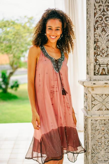 Handmade Viscose Chiffon Tie-Dyed Sleeveless Dress 'Jaipur Sunset'