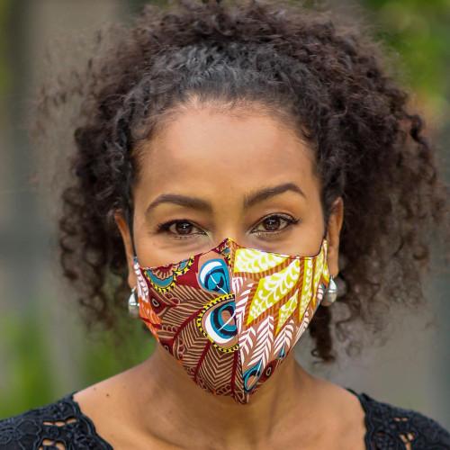 3 Colorful Nature Print 2-Layer Rayon Ear Loop Face Masks 'Colors of Nature'