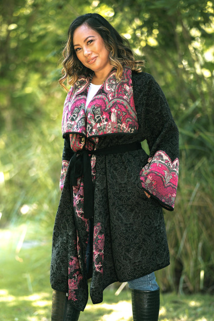 Knit Floral Cotton Blend Women's Coat from India 'Flower Days'