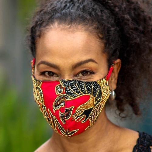 Artisan Crafted Beaded Batik Face Masks Set of 3 'Batik Sparkle'