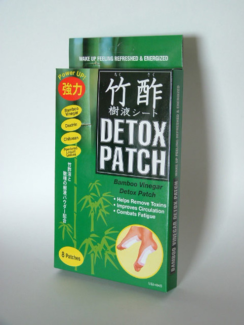 Bamboo Vinegar Detox Patch  These are great after a long day at work, easy to use and simple to do at night with a partner.  Bamboo vinegar patches that purge harmful toxins from the body through the soles of the feet     Safely and naturally draw out toxins from the body while you sleep!     Simply attach these patches to the soles of the feet before getting into bed, to let them absorb the daily toxins and wastes that have accumulated in the body.  Wake up feeling cleansed, refreshed, and energized!     After usage, visible change in the smell and color of the patch reflect the amount and degree of toxins that were extracted from the body.     Symptoms of toxin overload:   Weight gain      Fatigue     Poor digestion     Body odor   As an ingredient, bamboo vinegar has an unsurpassed ability to purge toxins through the skin.  According to ancient natural medicine, the acupressure points on the soles of the feet correspond to specific internal organs in the body.  The Bamboo vinegar patch stimulates the soles and absorbs toxins released from the acupressure points, promoting overall wellness and vitality.    Apply the Bamboo Vinegar Detox Patch after:   Excessive walking      Strenuous exercise     A long day at work     Wearing high heels     Household chores   Ingredients:   Bamboo vinegar, Dexedrine, Cellulose, Powdered doku dami, Powdered loquat leaves, Chitosan, Vitamin C, Non-woven bag   For external use only.